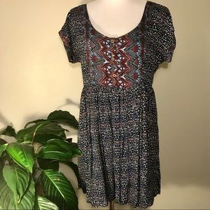 Free People Print Dress with Cut Out Back Design L